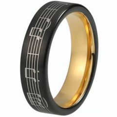 (Wholesale)Tungsten Carbide Gold Black Music Note Ring-2983AA