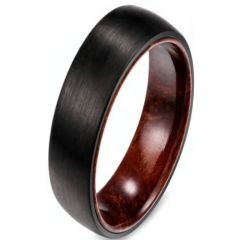 (Wholesale)Black Tungsten Carbide Dome Wood Ring - TG2998