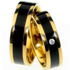 (Wholesale)Tungsten Carbide Black Gold Ring - TG3016