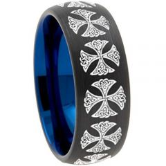 (Wholesale)Tungsten Carbide Black Blue Dome Cross Ring - TG3082
