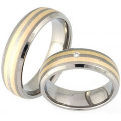 (Wholesale)Tungsten Carbide Double Line Ring - TG3105
