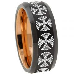 (Wholesale)Tungsten Carbide Black Rose Cross Ring - TG3147