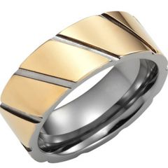 (Wholesale)Tungsten Carbide Diagonal Groove Ring - TG3155