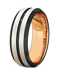 (Wholesale)Tungsten Carbide Black Rose Center Groove Ring-315AAA