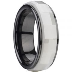 (Wholesale)White Black Ceramic Faceted Ring - TG316A