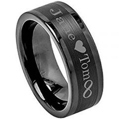 (Wholesale)Black Tungsten Carbide Ring With Custom Engraving-TG3203