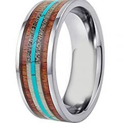 (Wholesale)Tungsten Carbide Wood Antler Imitate Turquoise Ring-3204