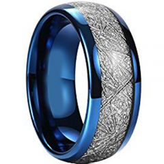 (Wholesale)Blue Tungsten Carbide Imitate Meteorite Ring - TG3207