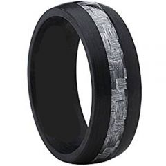 (Wholesale)Black Tungsten Carbide Ring With Carbon Fiber - TG321