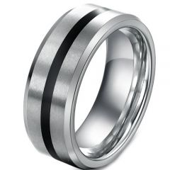 (Wholesale)Tungsten Carbide Center Line Ring - TG3218AA