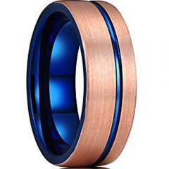 (Wholesale)Tungsten Carbide Blue Rose Offset Groove Ring - TG323