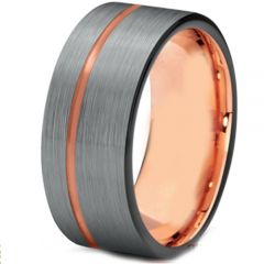 (Wholesale)Tungsten Carbide Black Rose Offset Groove Ring-3289AA