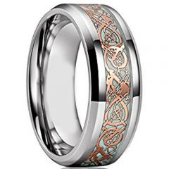 (Wholesale)Tungsten Carbide Beveled Edges Dragon Ring - TG3306AA