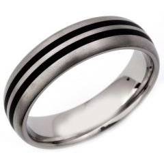 (Wholesale)Tungsten Carbide Dome Double Line Ring - TG3315