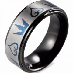 (Wholesale)Tungsten Carbide Black Blue Kingdom Heart Ring-3320