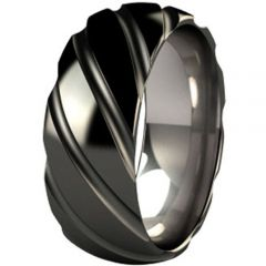 (Wholesale)Tungsten Carbide Diagonal Groove Ring - TG3353