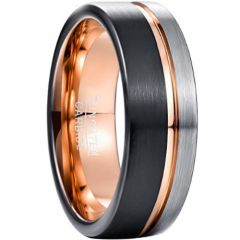 (Wholesale)Tungsten Carbide Black Rose Offset Groove Ring-4494
