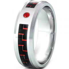 (Wholesale)Tungsten Carbide Carbon Fiber & CZ Ring - TG3366AA