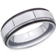(Wholesale)Tungsten Carbide Vertical Groove Ring - TG3389