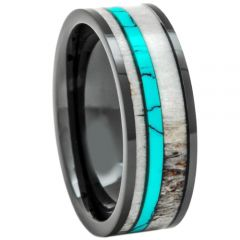 (Wholesale)Tungsten Carbide Deer Antler Imitate Turquoise Ring-3402