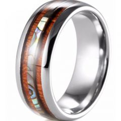 (Wholesale)Tungsten Carbide Wood & Shell Ring - TG3416