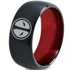 (Wholesale)Tungsten Carbide Black Red Deadpool Ring-3434