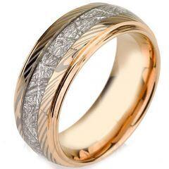 (Wholesale)Tungsten Carbide Damascus Imitate Meteorite Ring-3441