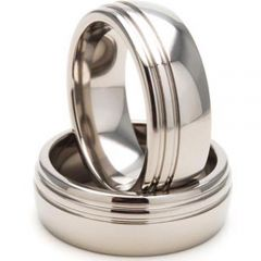 (Wholesale)Tungsten Carbide Offset Double Groove Ring - TG3446