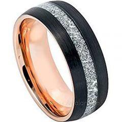 (Wholesale)Tungsten Carbide Black Rose Imitate Meteorite Ring-34