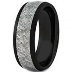 (Wholesale)Black Tungsten Carbide Imitate Meteorite Ring - TG346