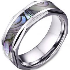 (Wholesale)Tungsten Carbide Abalone Shell Ring - TG3477A
