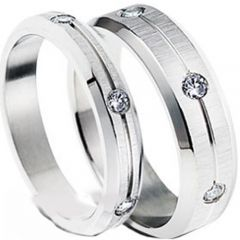 (Wholesale)Tungsten Carbide Center Groove Three-stone Ring-3487