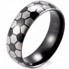 (Wholesale)Black Tungsten Carbide Soccer Pattern Ring - TG3490BB