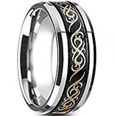 (Wholesale)Tungsten Carbide Celtic Beveled Edges Ring - TG3492