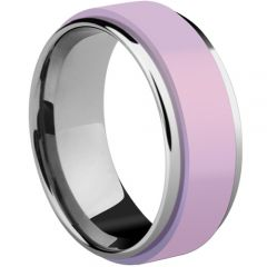 (Wholesale)Tungsten Carbide Ring With Pink Ceramic - TG3497A