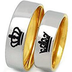 (Wholesale)Tungsten Carbide Dome King Queen Crown Ring - TG3512A
