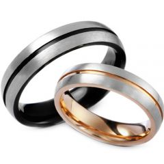 (Wholesale)Tungsten Carbide Center Groove Ring - TG3517