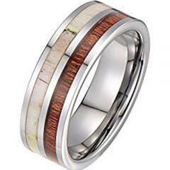 (Wholesale)Tungsten Carbide Deer Antler Wood Ring-3533