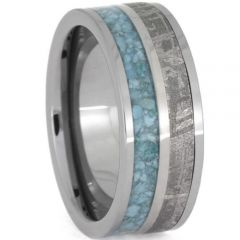 (Wholesale)Tungsten Carbide Carbon Fiber Imitate Meteorite Ring-