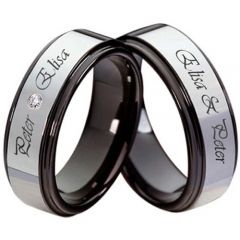 (Wholesale)Tungsten Carbide Ring With Custom Engraving-3562