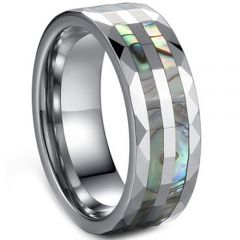 (Wholesale)Tungsten Carbide Faceted Abalone Shell Ring - TG3568
