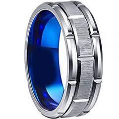 (Wholesale)Tungsten Carbide Blue Silver Brick Pattern Ring - TG3