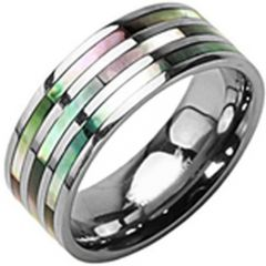 (Wholesale)Tungsten Carbide Abalone Shell Ring - TG3599