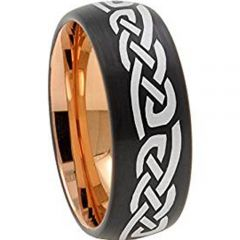 (Wholesale)Tungsten Carbide Black Rose Celtic Ring - TG3629AA
