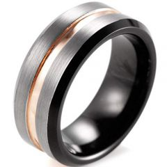 (Wholesale)Tungsten Carbide Black Rose Center Groove Ring-3633