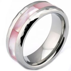 (Wholesale)Tungsten Carbide Faceted Abalone Shell Ring - TG3638