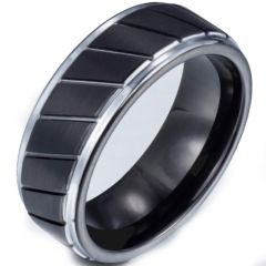 (Wholesale)Tungsten Carbide Diagonal Groove Ring - TG3667