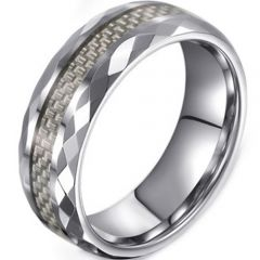 (Wholesale)Tungsten Carbide Faceted Carbon Fiber Ring-3674