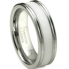 (Wholesale)Tungsten Carbide Ring With White Ceramic - TG3675
