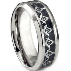 (Wholesale)Tungsten Carbide Masonic Inlays Ring - TG3676